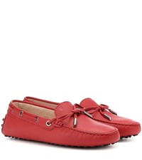 Tod's Gommino Leather Loafers Red