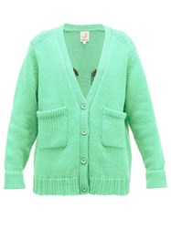 Joostricot Smiley Embroidered Wool Blend Cardigan Light Green