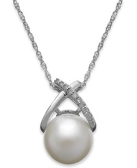 Macy's Cultured Freshwater Pearl 9Mm And Diamond Accent Cross Pendant Necklace In 14K White Gold