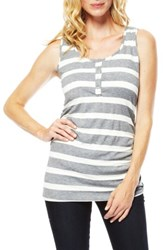 Nom Maternity 'S Henley Tank Top Charcoal Wide Stripe