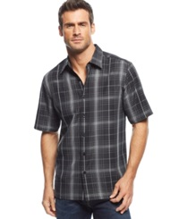 John Ashford Big And Tall Stanton Plaid Short Sleeve Shirt Deep Black