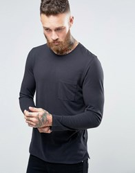 Selected Homme Longline Long Sleeve Top With Pocket Black