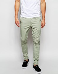 Asos Extreme Super Skinny Chinos In Army Green Green