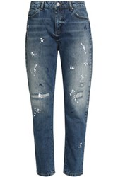 Zoe Karssen Distressed Embroidered High Rise Tapered Jeans Mid Denim