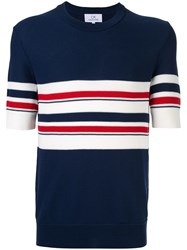 Ck Calvin Klein Stripe Design Knit T Shirt Blue