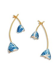 Tory Burch Flower Bud Enamel And Faux Pearl Drop Earrings Blue Ivory
