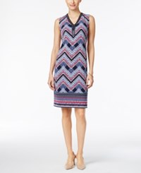 Jm Collection Petite Embellished Printed Sheath Dress Only At Macy's Blue Chevron
