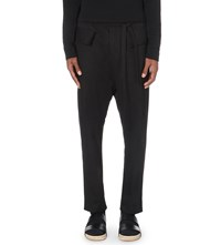 Damir Doma Regular Fit Tapered Cotton Trousers Black