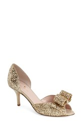 Kate Spade Women's New York 'Sela' Glitter Bow Peep Toe Pump Gold Glitter Gold Suede