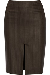 Red Valentino Striped Wool Pencil Skirt Brown