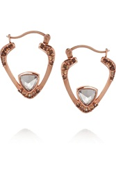 Katie Rowland Deco 18 Karat Rose Gold Plated Topaz And Quartz Earrings Metallic