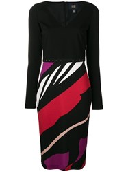 Class Roberto Cavalli Striped Fitted Dress Black