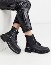 Calvin Klein Nannie Studded Chunky Lace Up Ankle Boots In Black