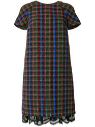Talbot Runhof Knitted Check Dress Multicolour