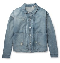 Levi's 1880S Pleated Distressed Denim Jacket Blue