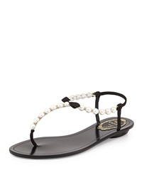 Rene Caovilla Pearly And Crystal Thong Sandal Black