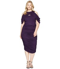 Kiyonna Bianca Ruched Dress Plum Purple