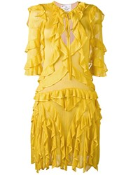 Dsquared2 Ruffle Trimmed Knitted Dress Women Viscose M Yellow Orange