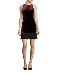 Abs By Allen Schwartz Velvet Pleated Hem Dress Maroon