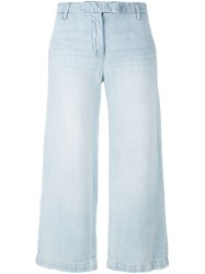Current Elliott Cropped Wide Leg Jeans Blue