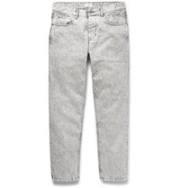 Ami Alexandre Mattiussi Slim Fit Tapered Cropped Bleached Denim Jeans Gray