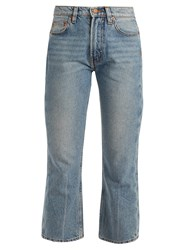 Bliss And Mischief Cowboy Fit Bootcut Cropped Jeans Light Blue