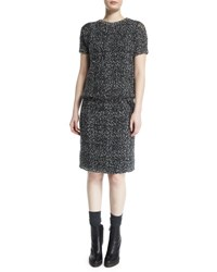 Brunello Cucinelli Short Sleeve Embroidered Knit Dress Onyx