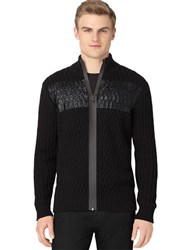 Calvin Klein Foil Print Cable Knit Cardigan Grey