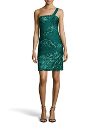 Sue Wong Draped Embellished Sheath Dress Forest