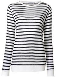 Alexander Wang T By Striped Knitted Top Women Linen Flax Rayon S White