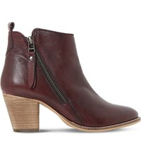 Dune Pontoon Leather Ankle Boots Burgundy Leather