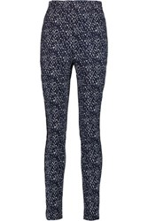 Issa Micah Printed Stretch Cotton Skinny Pants Midnight Blue