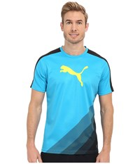 Puma It Evotrg Cat Graphic Tee Blue Wing Teal Orange Pop Men's Short Sleeve Pullover