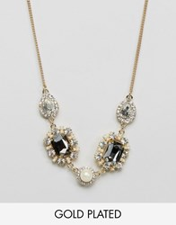 Johnny Loves Rosie Statement Multi Gem Necklace Pearl Crystal Gold