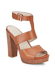 Kenneth Cole Ray Wood Platform Leather Sandals Cognac