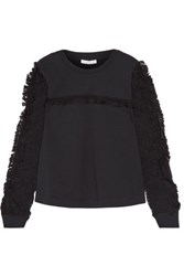 See By Chloe Crochet Paneled Cotton Jersey Top Black