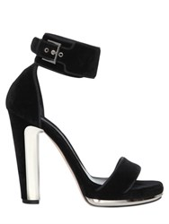 Alexander Mcqueen 120Mm Velvet Sandals With Metal Detail