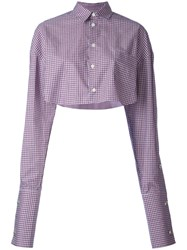 Y Project Plaid Cropped Shirt Women Cotton 42 Red