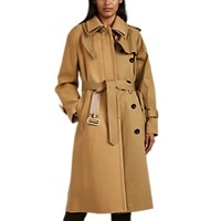 Sacai Wool And Cotton Patchwork Trench Coat Beige Tan