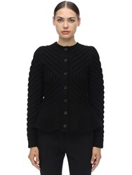 Alexander Mcqueen Waved Flared Wool Blend Knit Cardigan Black