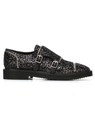 Giuseppe Zanotti Design Glitter Buckled Shoes Black