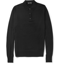 John Smedley Cotswold Long Sleeved Merino Wool Polo Shirt Black
