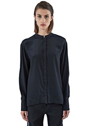 Ilaria Nistri Long Sleeved Sill Blend Blouse Black