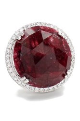 Savvy Cie Red Sapphire And White Crystal Halo Round Ring