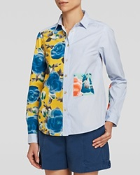 Marc By Marc Jacobs Shirt Candy Stripe Patchwork Button Down Yellow Jacket Multi