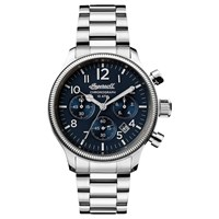Ingersoll I03804 Men's The Apsley Chronograph Date Bracelet Strap Watch Silver Navy