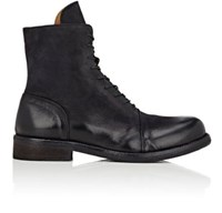 Barneys New York Men's Leather Cap Toe Boots Black