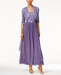 R And M Richards Sequined Lace Belted Gown Jacket Lavender