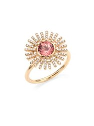 Astley Clarke Rising Sun Diamond Pink Tourmaline And 18K Yellow Gold Ring Gold Pink