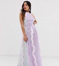 True Decadence Petite Delicate Halter Neck Maxi Dress With Waterfall Skirt In Tonal Pastel Multi